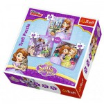 Trefl-34814 3 Puzzles - Disney Princesse Sofia