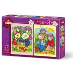 2 Puzzles - The Rabbits and The Bear Family