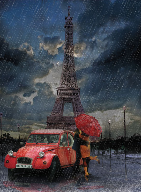 puzzle pluie et amour la tour eiffel art puzzle 4407 1000 pi ces puzzles monuments planet. Black Bedroom Furniture Sets. Home Design Ideas