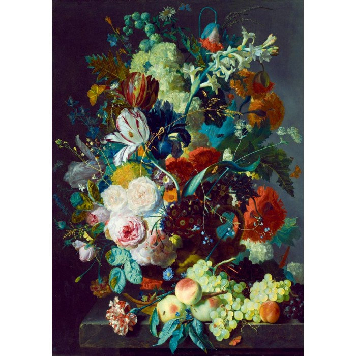 Jan Van Huysum - Still Life with Flowers and Fruit, 1715