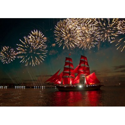 Puzzle Bluebird-Puzzle-70041 Fireworks around a Sailboat