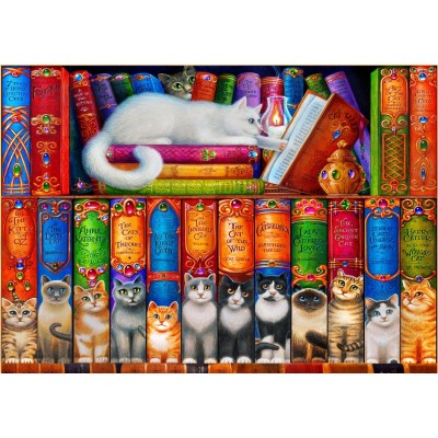 Puzzle Bluebird-Puzzle-70216 Cat Bookshelf
