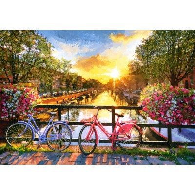 Puzzle Castorland-104536 Picturesque Amsterdam with Bicycles
