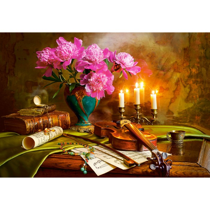 Still Life with Violin and Flowers