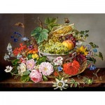 Puzzle   Still Life with Flowers and Fruit Basket