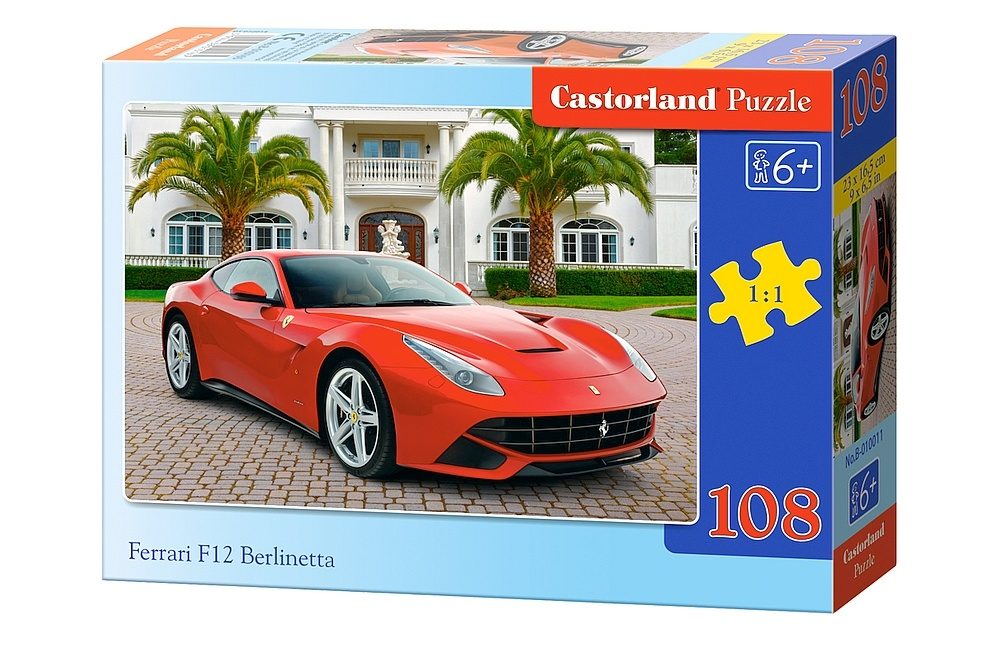 puzzle ferrari f12 berlinetta castorland 010011 108 pi ces puzzles voitures motos et camions. Black Bedroom Furniture Sets. Home Design Ideas
