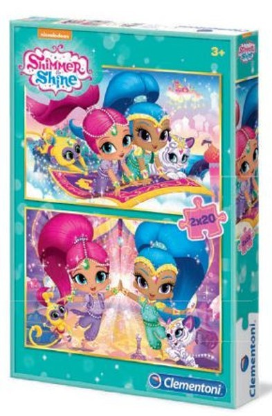 Clementoni-07028 2 Puzzles - Shimmer & Shine