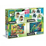 Clementoni-08218 Super Kit 4 in 1 - Ben 10 - 2 Puzzles + Memo + Domino