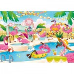 Puzzle  Clementoni-20151 Supercolor Flamingo Party - Effet Brillant