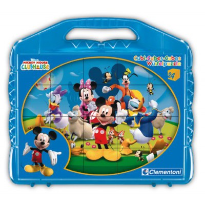 Clementoni-42495 Puzzle Cubes - Mickey Mouse Club House