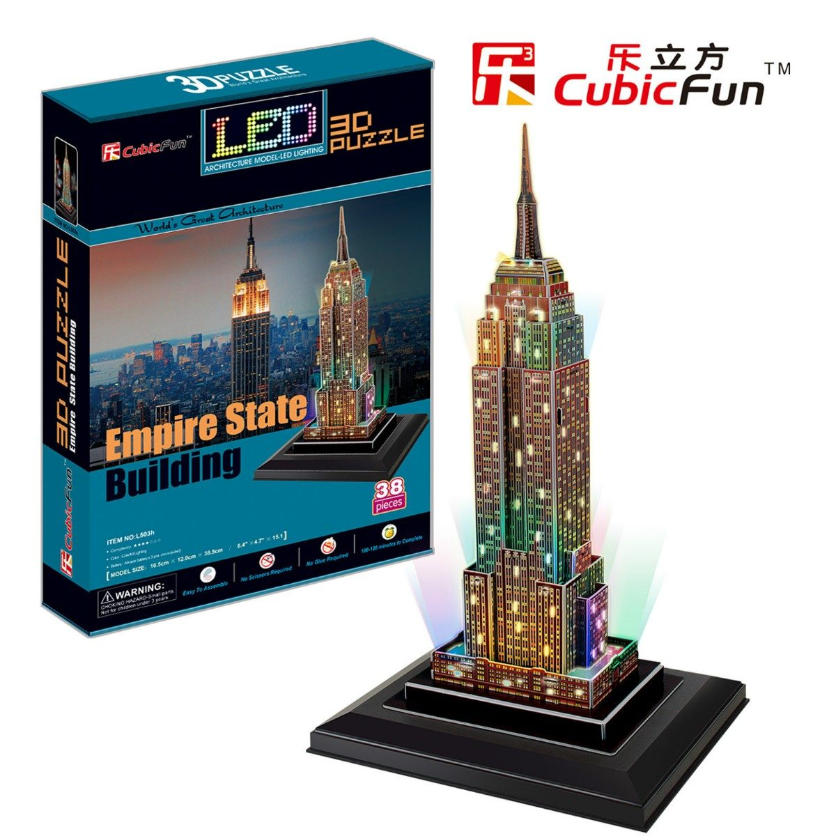 Puzzle 3d avec led empire state building cubic fun l503h