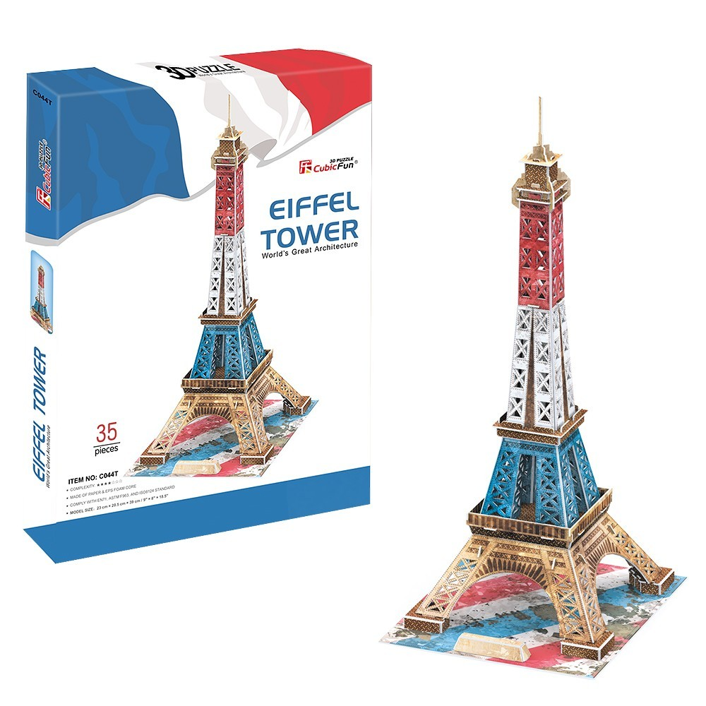 puzzle 3d tour eiffel en couleur difficult 4 8 cubic fun c044t 35 pi ces puzzles. Black Bedroom Furniture Sets. Home Design Ideas