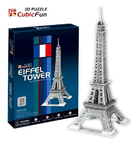 puzzle 3d tour eiffel cubic fun c705h 33 pi ces puzzles monuments planet 39 puzzles. Black Bedroom Furniture Sets. Home Design Ideas