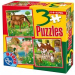 Dtoys-60150-AL-02 3 Puzzles - Chevaux, vaches, cochons, canards
