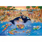 Puzzle  DToys-61218-CC06 Cartoon Collection - Embouteillage à la plage
