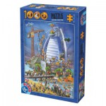 Puzzle  Dtoys-61218-CC12 Cartoon Collection - Construction du Burj Al Arab