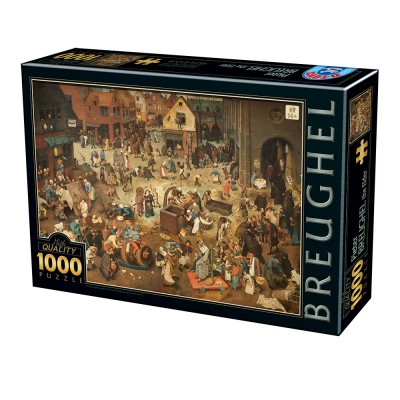 Puzzle Dtoys-76885 Pieter Brueghel Le Vieux - The Fight Between Carnival and Lent