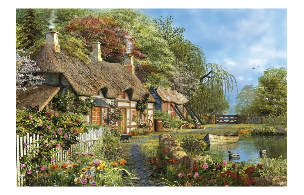 puzzle chaumi re fleurie au bord de l 39 eau educa 16323 4000 pi ces puzzles cottages et ch lets. Black Bedroom Furniture Sets. Home Design Ideas