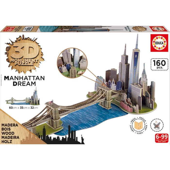 Puzzle 3D en Bois - Brooklyn Bridge, Manhattan Dream