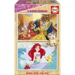 Educa-17164 2 Puzzles en Bois - Princesses Disney
