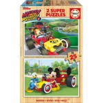 Educa-17234 2 Puzzles en Bois - Mickey and The Roadster Racers