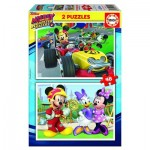 Educa-17239 2 Puzzles - Mickey and The Roadster Racers