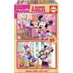 Educa-17625 2 Puzzles en Bois - Minnie