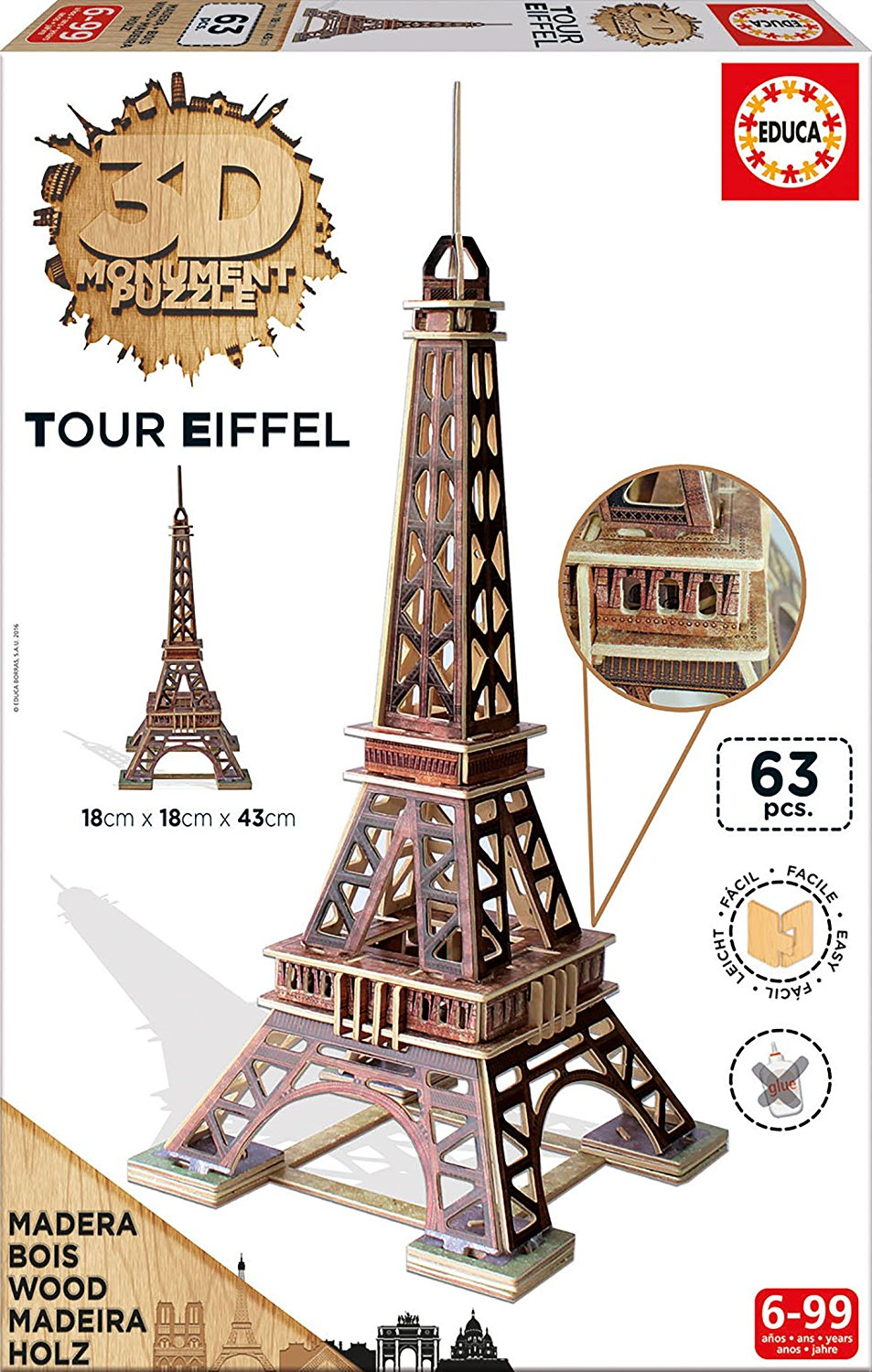 puzzle 3d en bois tour eiffel educa 16998 63 pi ces puzzles monuments planet 39 puzzles. Black Bedroom Furniture Sets. Home Design Ideas