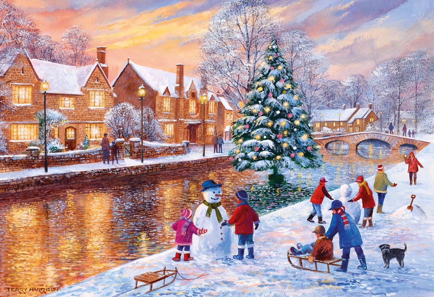 puzzle terry harrison  bourton at christmas gibsons-g3088 500 pi u00e8ces puzzles