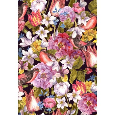 Puzzle Grafika-Kids-01177 Pièces XXL - Vintage Flowers and Birds
