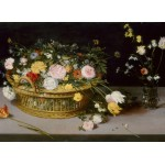 Puzzle  Grafika-Kids-02044 Jan Brueghel - Flowers in a Basket and a Vase, 1615