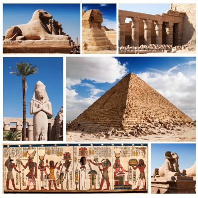 Puzzle Grafika-00804 Collage Egypte, Sphinx et Pyramide