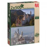 Jumbo-18348 2 Puzzles - Then and Now Seasons : Neuwschwanstein