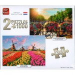 2 Puzzles - Dutch Collection Sunrise Over Amsterdam & Zaanse Schans