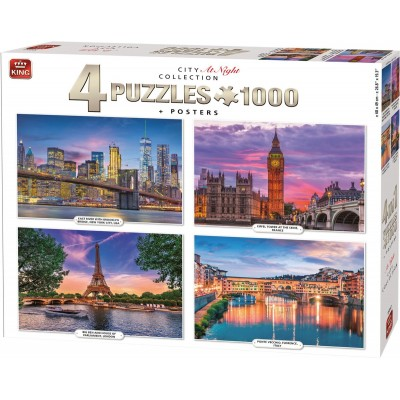 King-Puzzle-55957 4 Puzzles - City at Night Collection