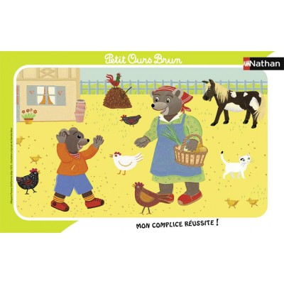 Nathan-86133 Puzzle Cadre - Petit Ours Brun