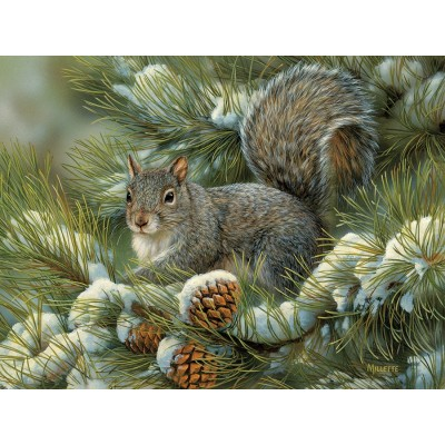 Puzzle Cobble-Hill-54348 Pièces XXL - Rosemary Millette - Gray Squirrel