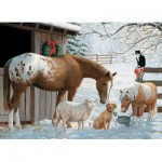 Puzzle  Cobble-Hill-54604 Pièces XXL Familly - Winter Barnyard