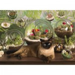 Puzzle  Cobble-Hill-80049 Terrarium Cat
