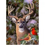 Puzzle  Cobble-Hill-85014 Pièces XXL - One Deer Two Cardinals