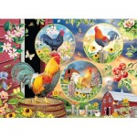 Puzzle  Cobble-Hill-85058 Pièces XXL - Rooster Magic