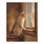 Puzzle  Pintoo-H2282 Lucie Bilodeau - Peering Out The Window