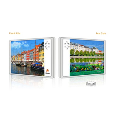 Pintoo-U1006 Puzzle Push Double Face en Plastique - Copenhague et Vienne