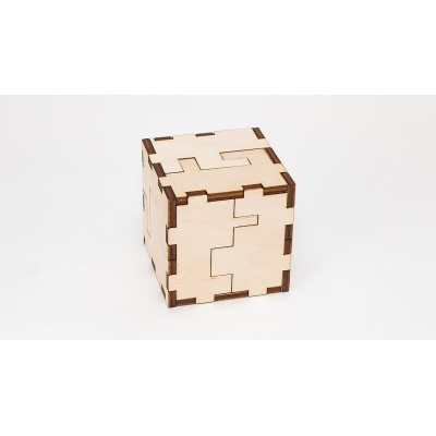 Eco-Wood-Art-35 Puzzle Cube 3D