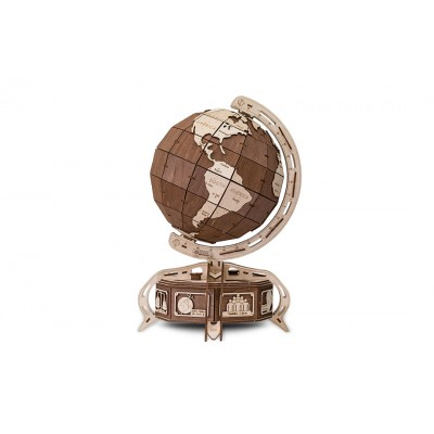 Eco-Wood-Art-38 Puzzle 3D en Bois - Globe Marron