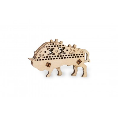 Eco-Wood-Art-52 Puzzle 3D en Bois - Bison