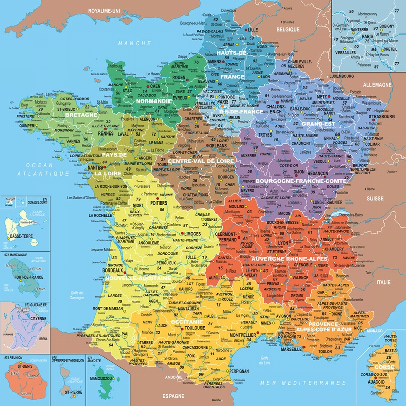 carte de france avec departements