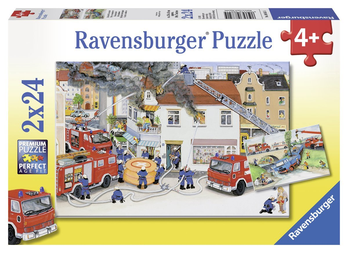 2 puzzles accident de la route et incendie en ville ravensburger 08851 24 pi ces puzzles. Black Bedroom Furniture Sets. Home Design Ideas