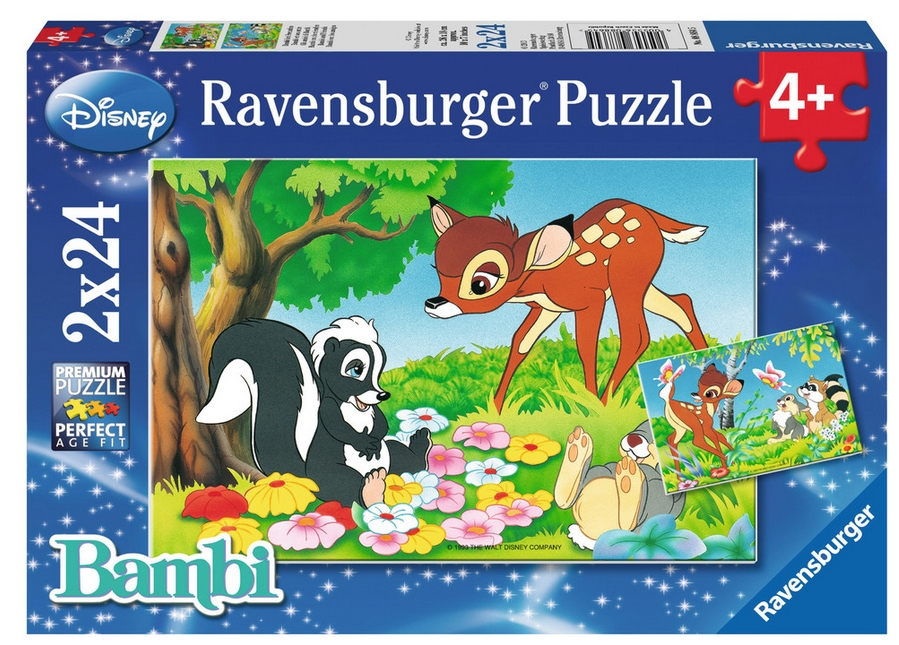 2 puzzles bambi ravensburger 08864 24 pi ces puzzles autres disney planet 39 puzzles. Black Bedroom Furniture Sets. Home Design Ideas