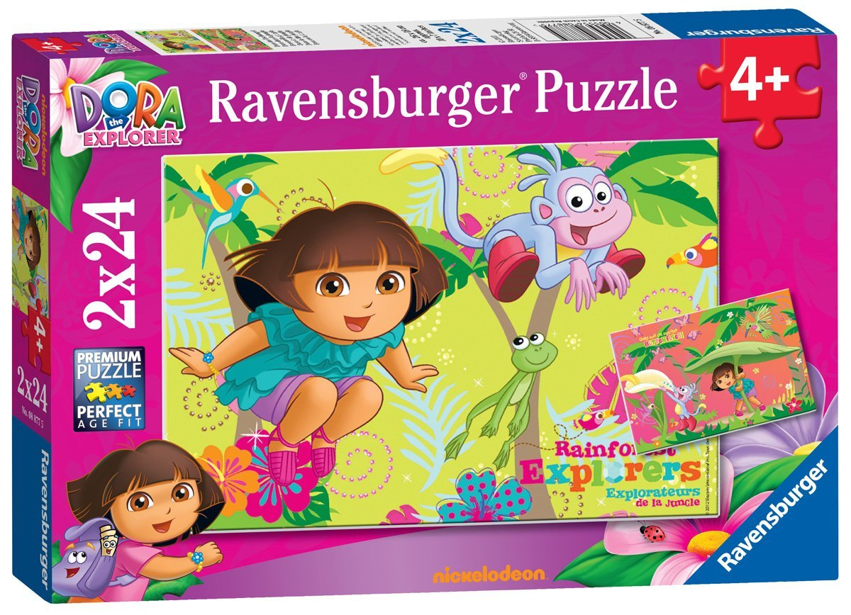 2 puzzles dora ravensburger 08877 24 pi ces puzzles super h ros planet 39 puzzles. Black Bedroom Furniture Sets. Home Design Ideas